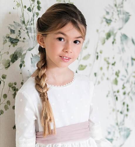 Vestido niña Comunión lunares bordados | Aiana Larocca