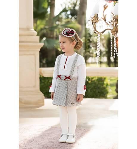 Conjunto falda gris topitos y camisa de Dolce Petit | Aiana Larocca