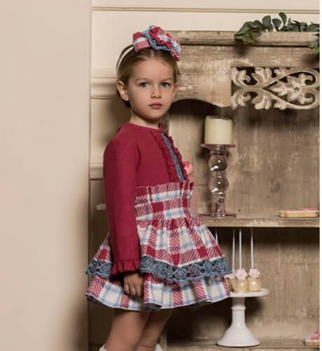 Vestido niña falda cuadros fresa de Dolce Petit | Aiana Larocca