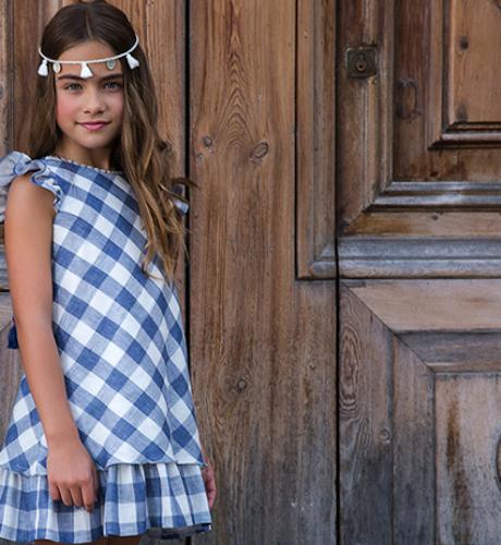 -NUEVO- Vestido niña vichy azul manga volante de Rochy | Aiana Larocca