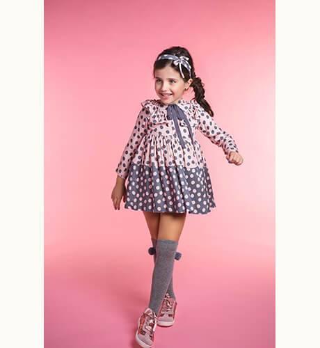 Vestido lunares rosa y gris de Rochy | Aiana Larocca