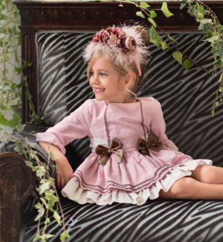 -NUEVO- Vestido rosa lazos chocolate de Dolce Petit | Aiana Larocca