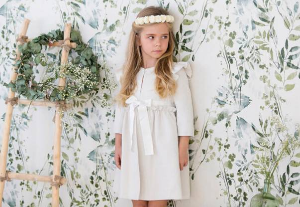 Abrigo ceremonia tweed crudo de Nueces Kids | Aiana Larocca