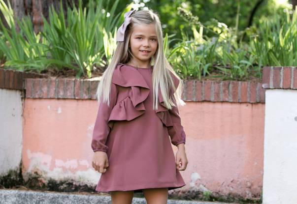 Vestido niña evasé rosa-malva volantes lateral de Eve Children | Aiana Larocca