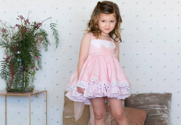 Vestido niña rosa topitos Alicia de Belcoquet | Aiana Larocca