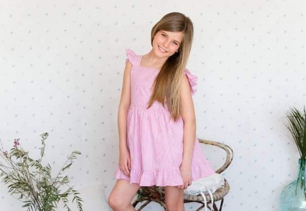 Vestido rayas rosa con lazada de Aiana Larocca | Aiana Larocca