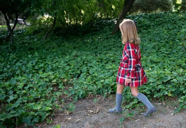 Vestido niña cuadros rojo y marino de Rochy | Aiana Larocca