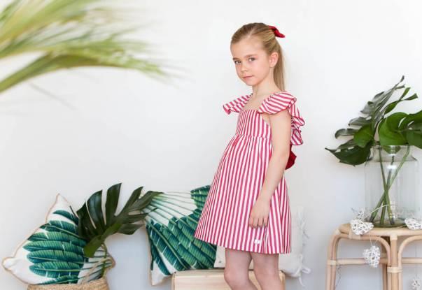 Vestido niña a rayas rojas de Eve Children | Aiana Larocca