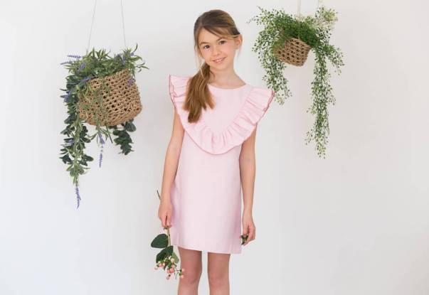 Vestido rosa a rayas finas escote y lazada espalda   Aiana Larocca