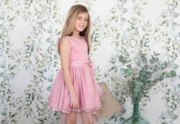 Vestido niña rosa con tul plumeti de Nekenia | Aiana Larocca