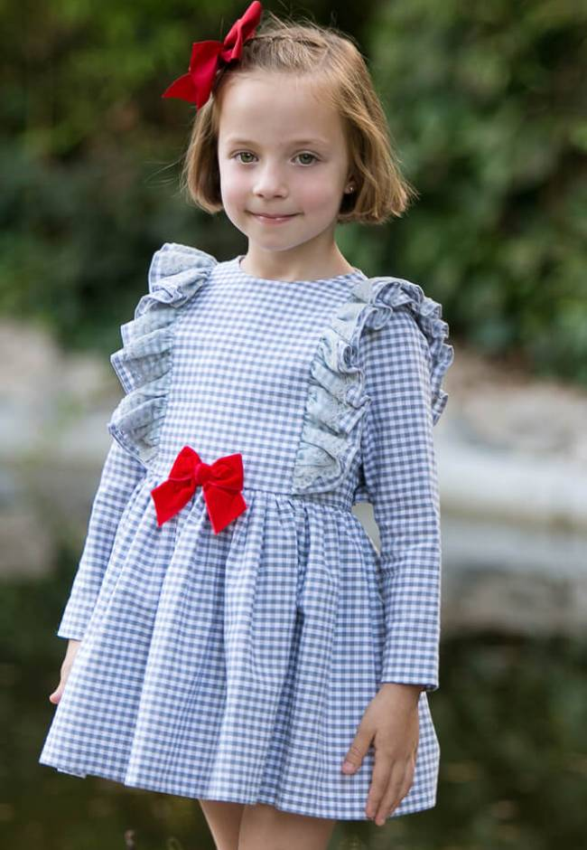 Vestido niña vichy gris lazo rojo de Mon Petit Bonbon | Aiana Larocca