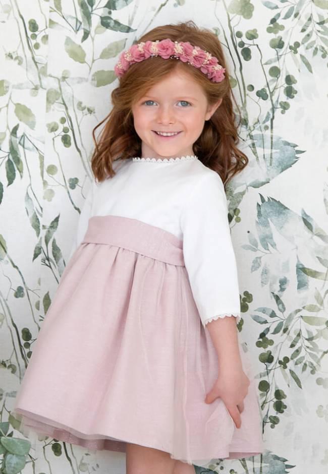 Vestido niña ceremonia con mangas rosa con tul | Aiana Larocca