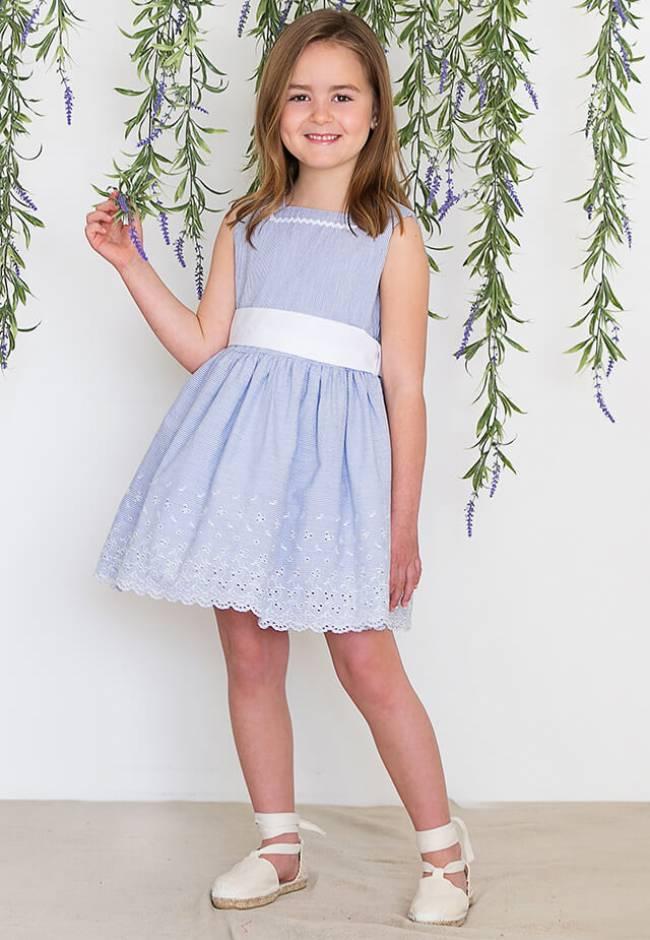 Vestido a rayas finas azul de Blanca Valiente   Aiana Larocca