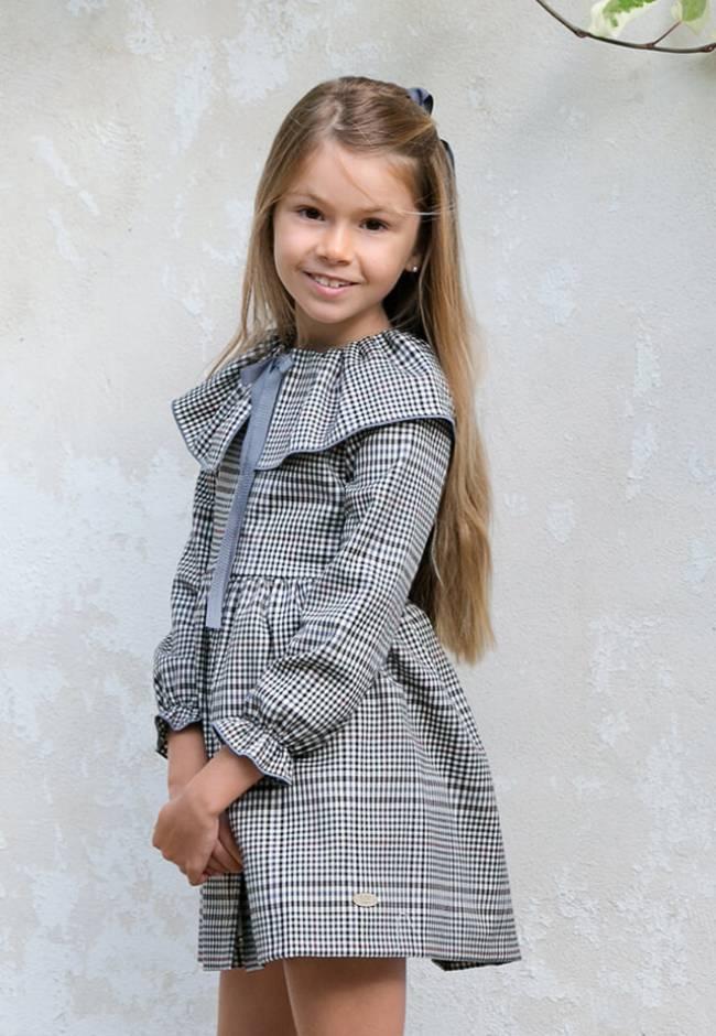 Vestido niña cuadros inglés gris con botones de Eve Children | Aiana Larocca