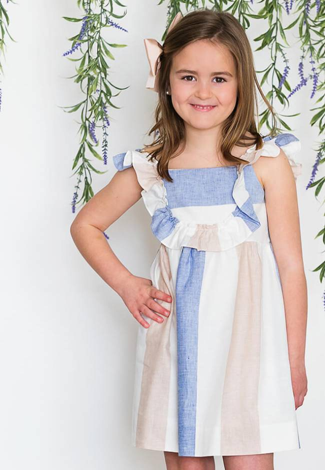 Vestido niña a rayas cuello volante de Ancar   Aiana Larocca