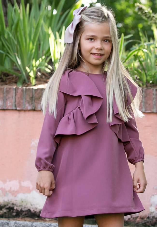 Vestido niña evasé rosa-malva volantes lateral de Eve Children   Aiana Larocca
