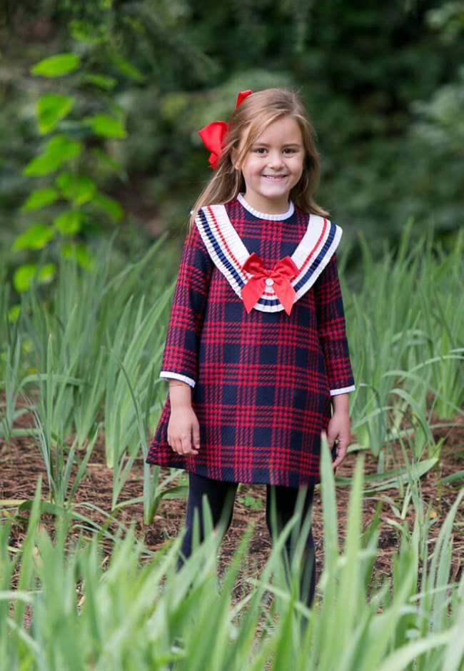 Vestido college cuadros rojos y marino de Foque | Aiana Larocca