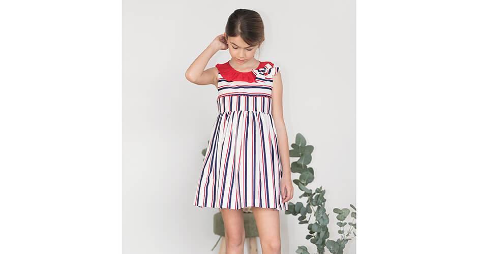 Vestido niña a rayas volante rojo de Blanca Valiente | Aiana Larocca