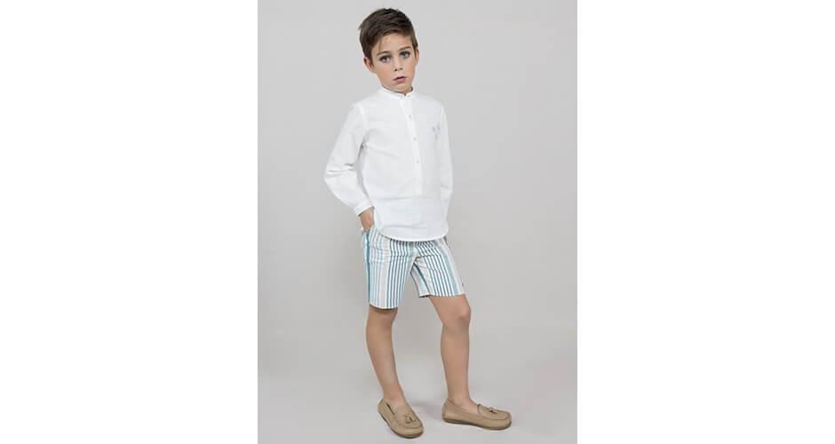 Conjunto niño camisa blanca y pantalón a rayas de Marta y Paula | Aiana Larocca