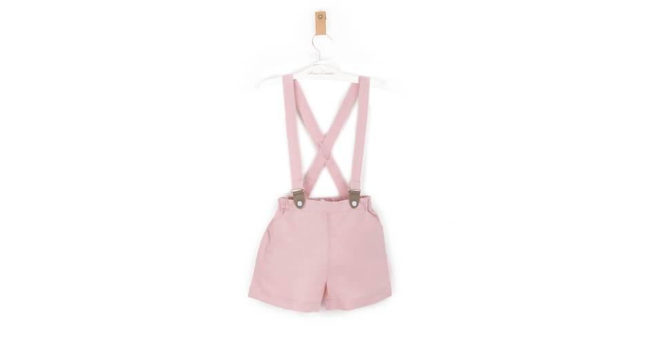 Pantalón tirantes niño lino rosa | Aiana Larocca