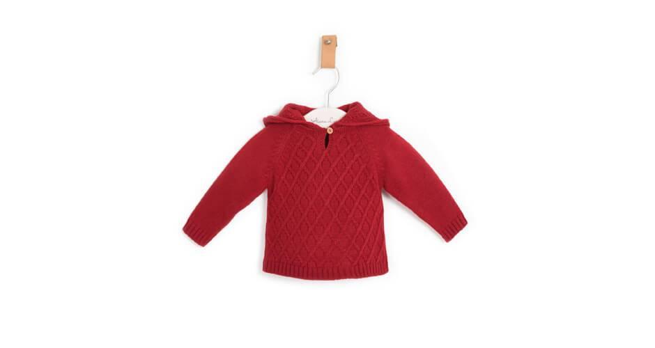 Jersey bebé con capucha rojo pimentón de Marta y Paula | Aiana Larocca