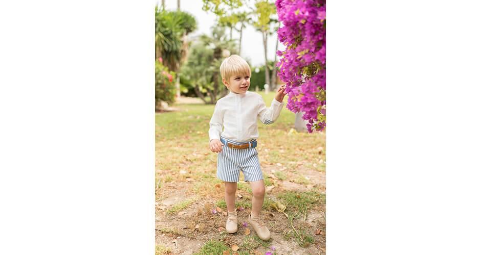Conjunto niño pantalón a rayas azul y camisa coderas de Dolce Petit | Aiana Larocca
