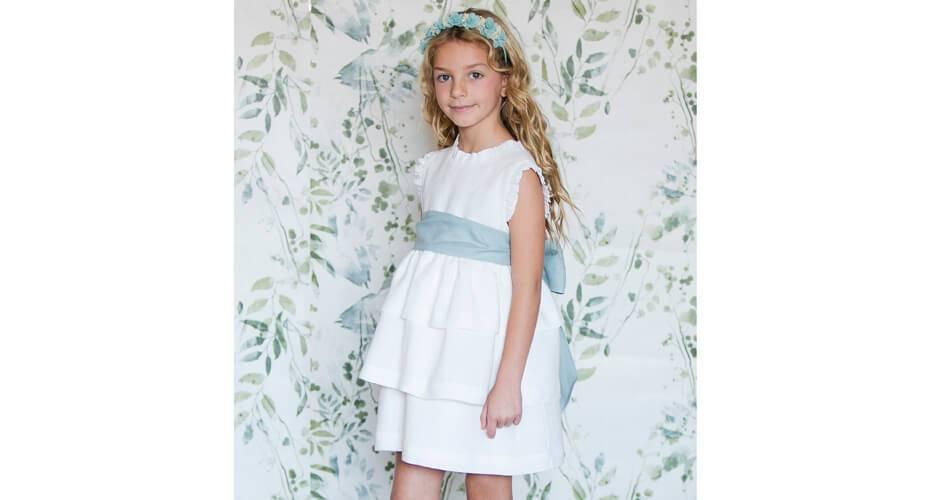 Vestido niña ceremonia lino volantes lazada verde | Aiana Larocca