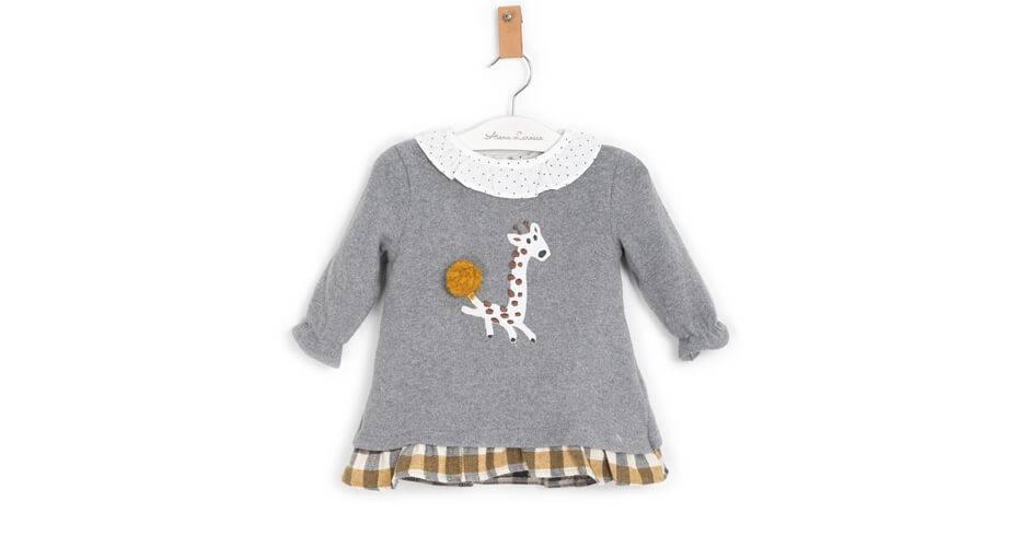 Vestido punto gris jirafa de Coco Acqua | Aiana Larocca