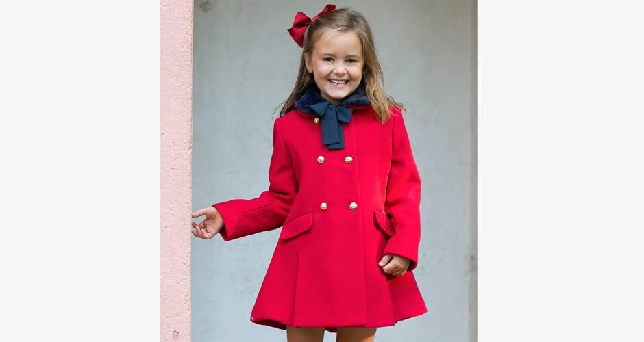Abrigo niña paño rojo cuello pelo de Dolce Petit | Aiana Larocca