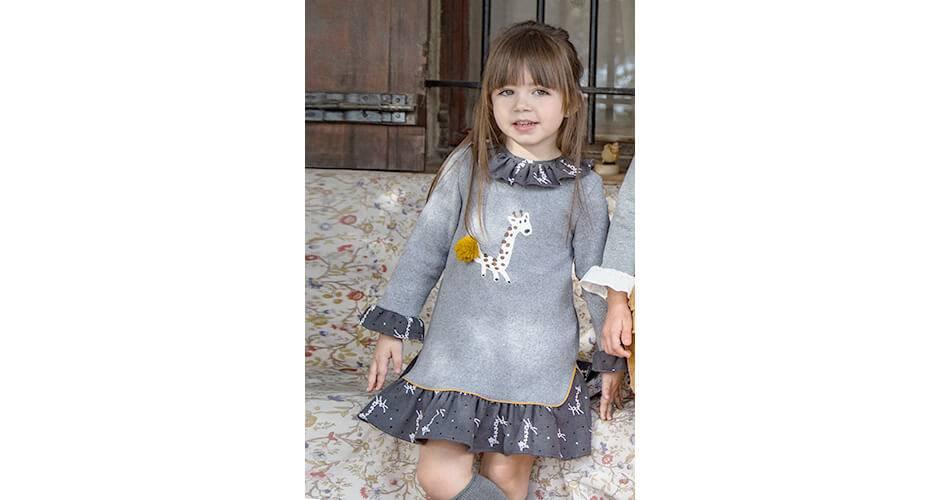 Vestido combinado punto estampado jirafa de Coco Acqua | Aiana Larocca