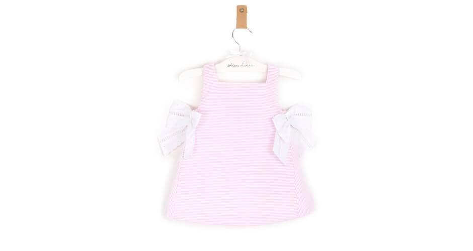 Vestido niña a rayas rosa y lazo de Rochy | Aiana Larocca