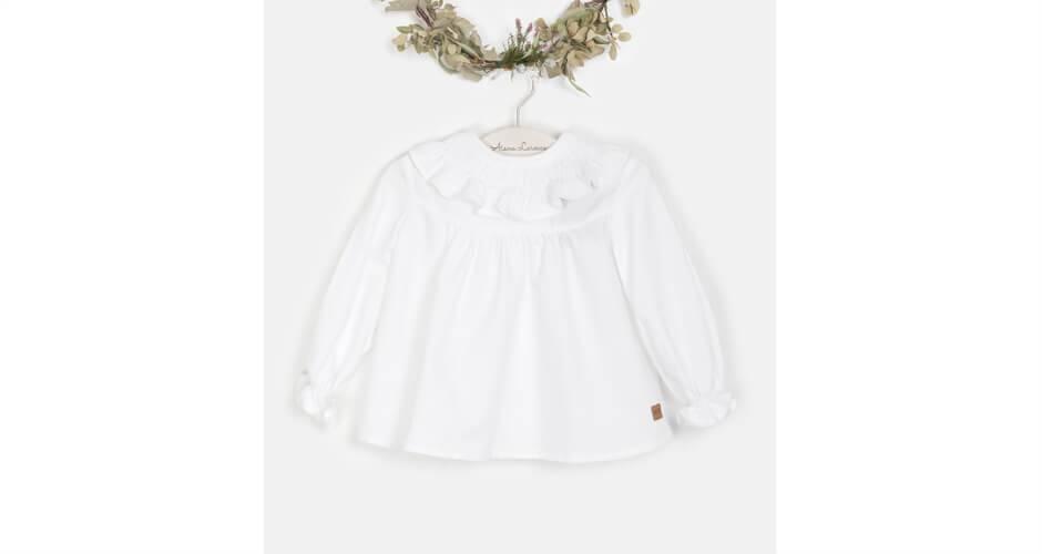 Blusa bebé blanca cuello volante de José Varón | Aiana Larocca