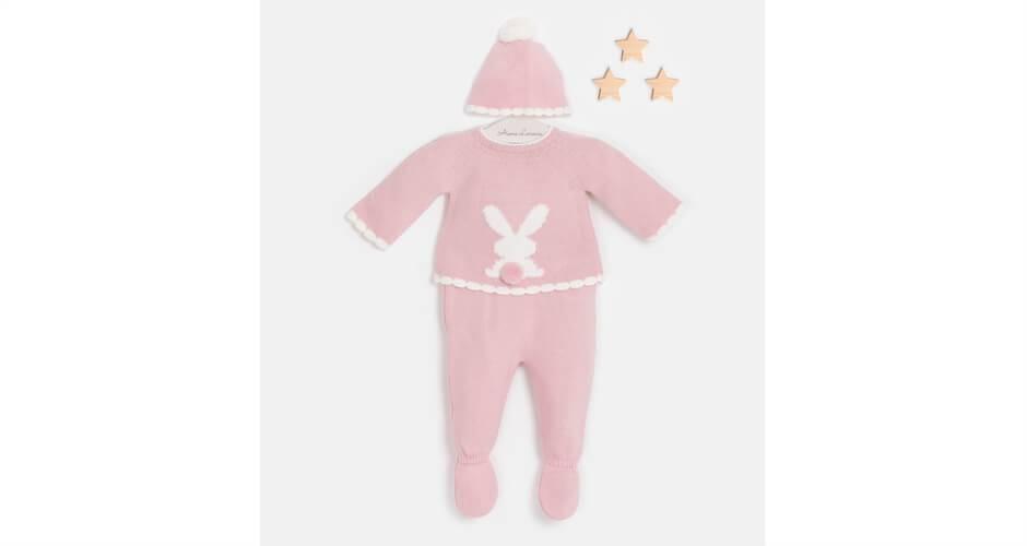 Conjunto bebé pelele conejo rosa empolvado de Valentina Bebés   Aiana Larocca