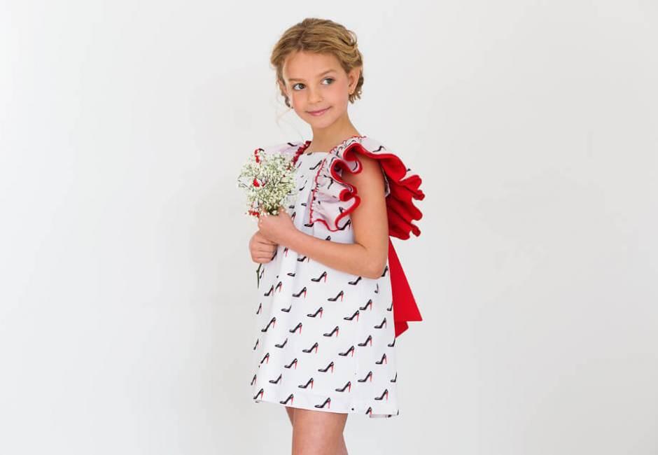 Vestido niña tacones lazada roja de Baby Yiro   Aiana Larocca