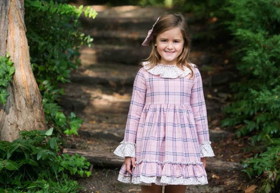 Vestido talle alto a cuadros rosa de Blanca Valiente | Aiana Larocca