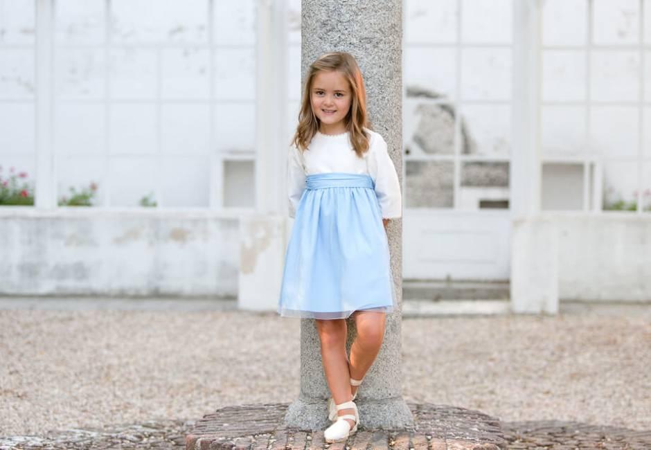 Vestido niña ceremonia azul con tul | Aiana Larocca