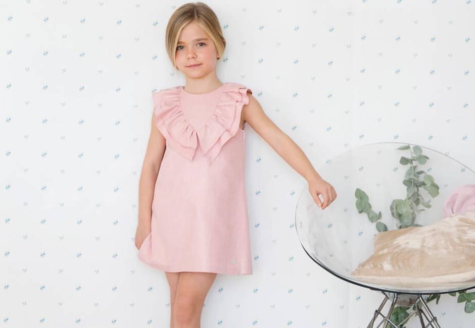 Vestido niña rosa volantes cuello pico de Eve Children | Aiana Larocca