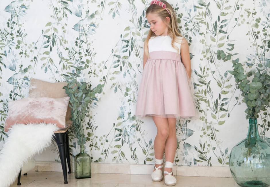 Vestido niña ceremonia rosa con tul | Aiana Larocca
