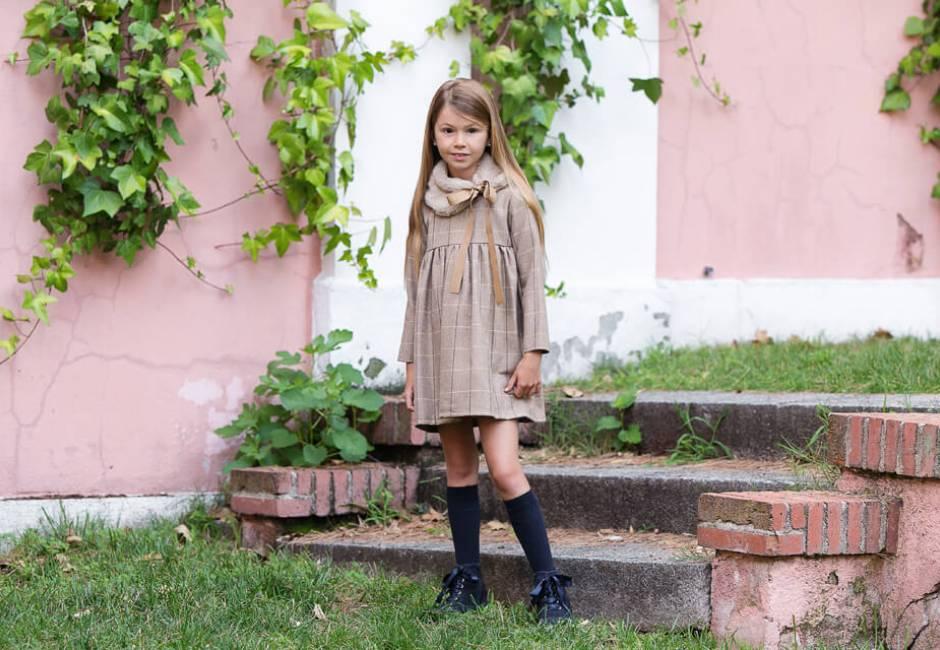 Vestido niña cuadros mostaza de Eve Children | Aiana Larocca
