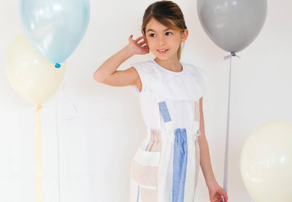 Falda niña a rayas con tirantes de Ancar   Aiana Larocca