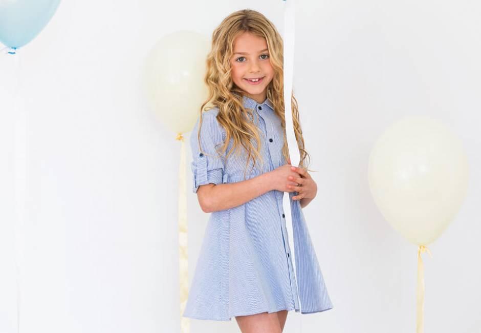 Vestido niña camisero a rayas finas de Blanca Valiente   Aiana Larocca