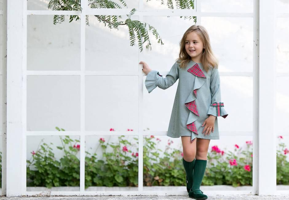 Vestido niña pata gallo verde con rojo de Rochy | Aiana Larocca